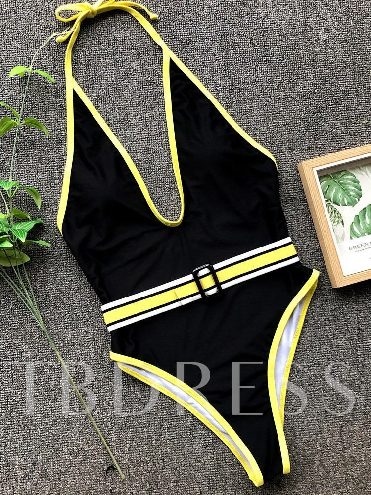 Sexy Lace-Up Color Block One Piece Women's Swimwear