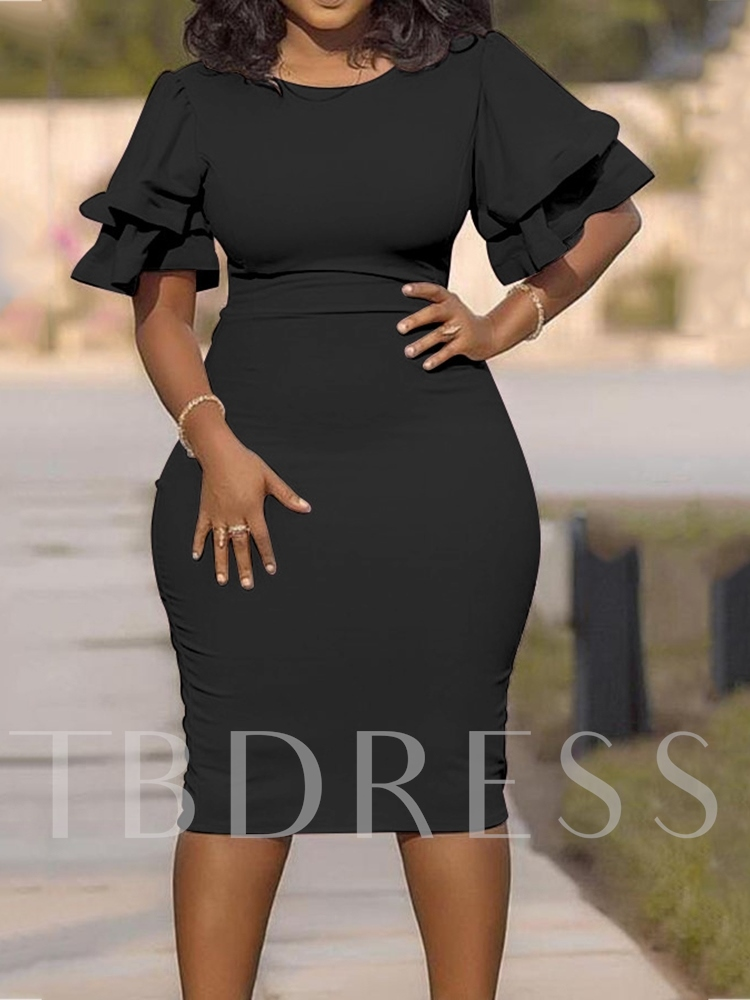 Plus Size Falbala Mid-Calf Short Sleeve Round Neck High Waist Women's Dress