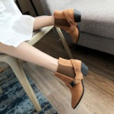Patchwork Pointed Toe Slip-On Vintage Ankle Boots
