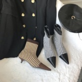 Patchwork Pointed Toe Kitten Heel Slip-On Ankle Boots