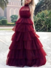 High Neck Ball Gown Tiered Burgundy Prom Dress 2019