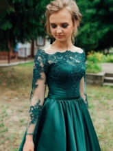 Appliques A-Line Long Sleeves Prom Dress 2019