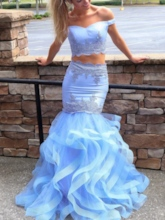 Off-The-Shoulder Appliques Two Pieces Mermaid Prom Dress 2019