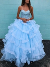 Ball Gown Beading Tiered Quinceanera Dress 2019