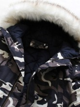 Button Camouflage Hooded Mid-Length Zipper Men's Down Jacket