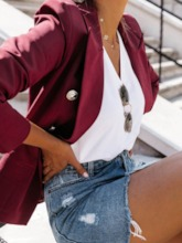Notched Lapel Three-Quarter Sleeve Double-Breasted Plain Regular Women's Casual Blazer