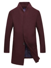 Button Plain Mid-Length Stand Collar Single-Breasted Men's Coat