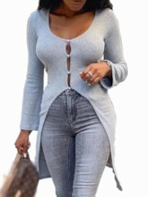 Single-Breasted Regular Regular V-Neck Women's Sweater