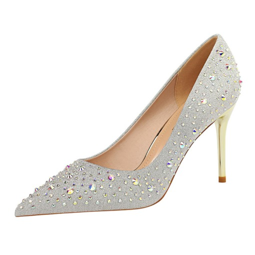 Slip-On Stiletto Heel Pointed Toe High Hee Banquet Pumps
