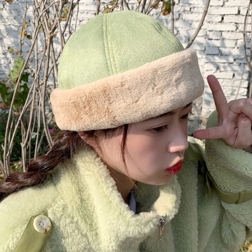 Hemming Suede Plain Brimless Women's Winter Hats