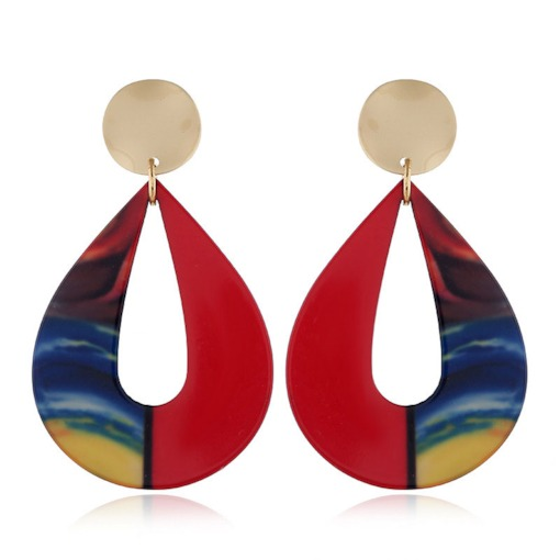 Color Block European E-Plating Holiday Drop Earrings