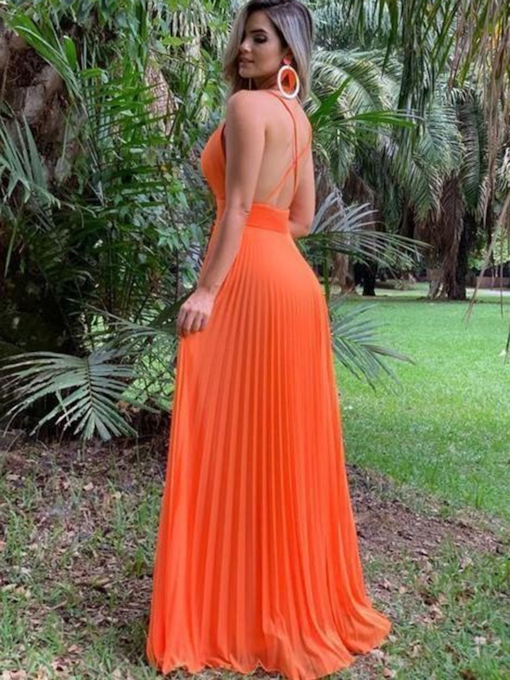 Criss-Cross Straps Ruched Orange Red Prom Dress 2019
