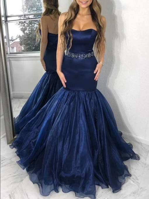 Organza Strapless Beading Mermaid Prom Dress 2019