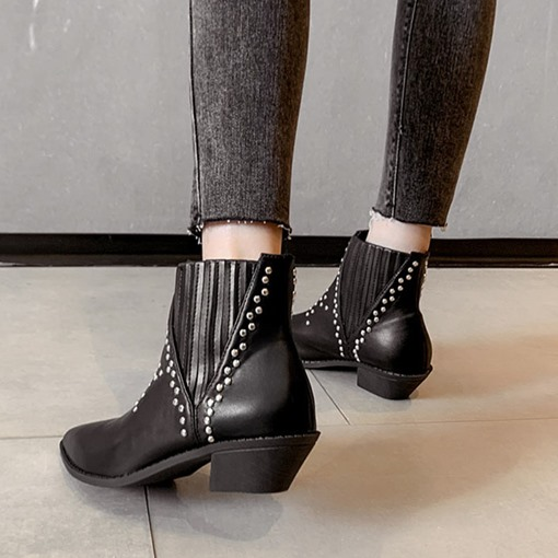 Plain Slip-On Pointed Toe Casual Rivet Ankle Boots