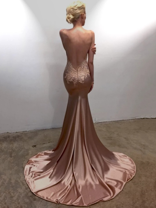 Spaghetti Straps Mermaid Backless Evening Dress 2019