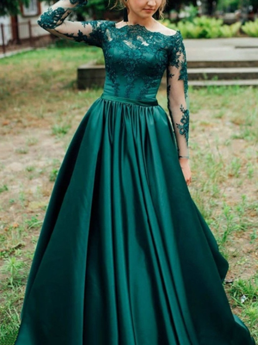 Appliques A-Line Long Sleeves Prom Dress