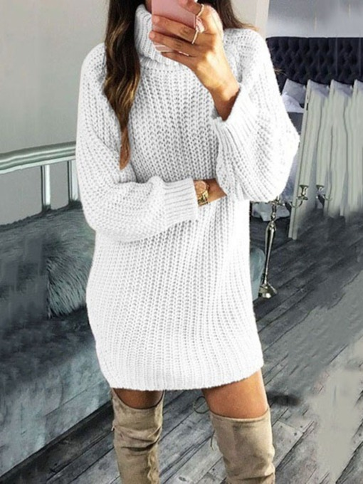 Long Sleeve Above Knee Turtleneck Casual Women's Sweater Dress