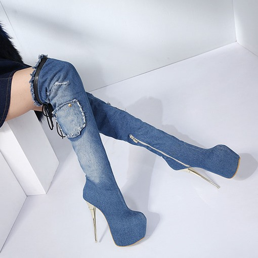 Stiletto Heel Side Zipper Round Toe Cloth Thigh High Boots