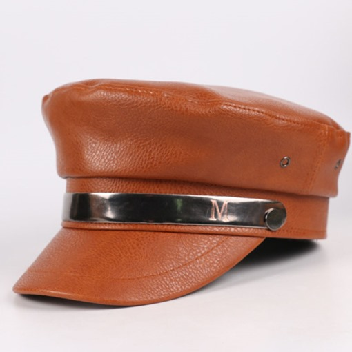 Leather Korean Winter Women's Military Hat