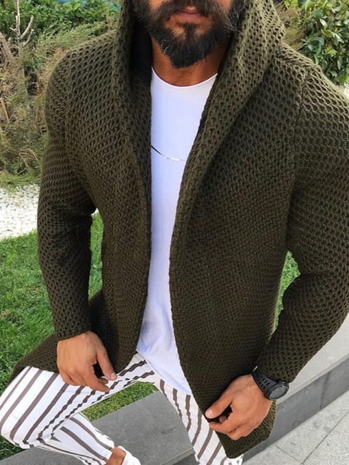 Plain Standard Hooded European Men's Sweater