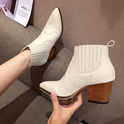 Chunky Heel Plain Slip-On Pointed Toe PU Ankle Boots