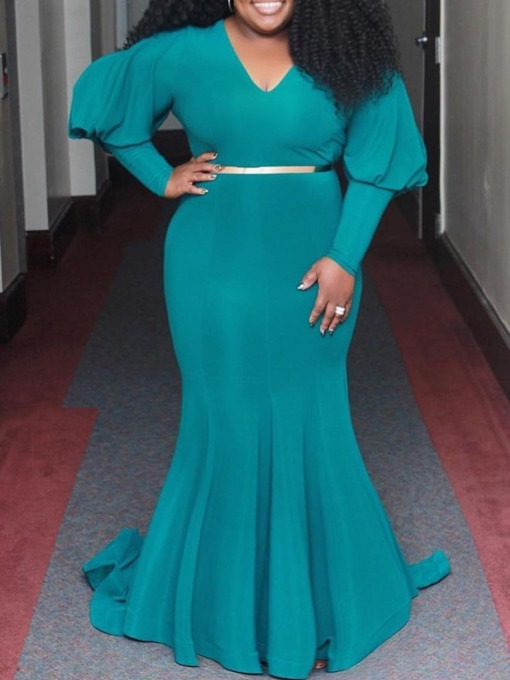 Robe grande taille femme col V manches longues