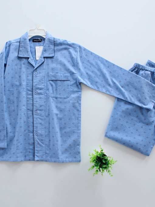Long Sleeve Full Length Winter Men's Pajamas Sets