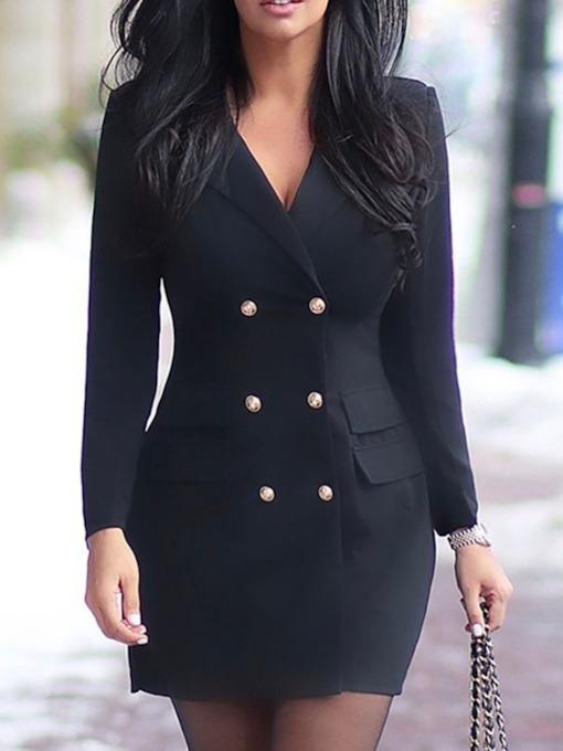 Long Sleeve Above Knee Notched Lapel Pocket Mid Waist Women's Bodycon Dress