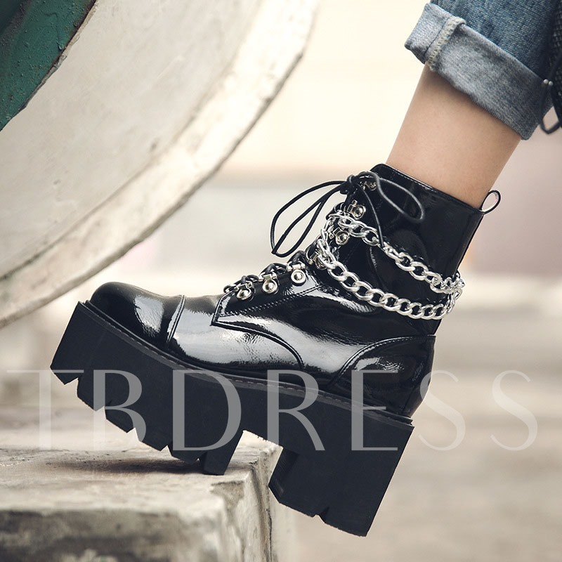 Round Toe Side Zipper Plain Chunky Heel Ankle Boots