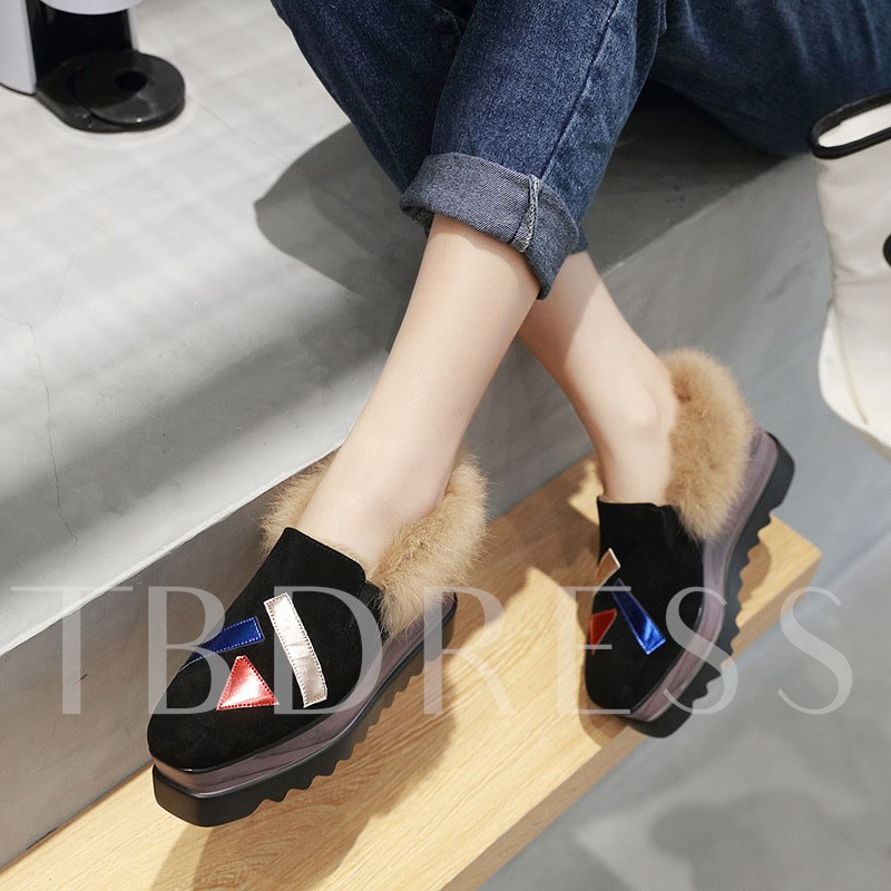 Square Toe Wedge Heel Thread Slip-On Casual Shoes