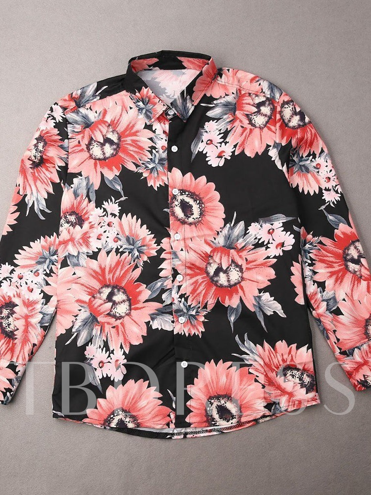 Floral Lapel European Print Single-Breasted Men's Slim Shirt
