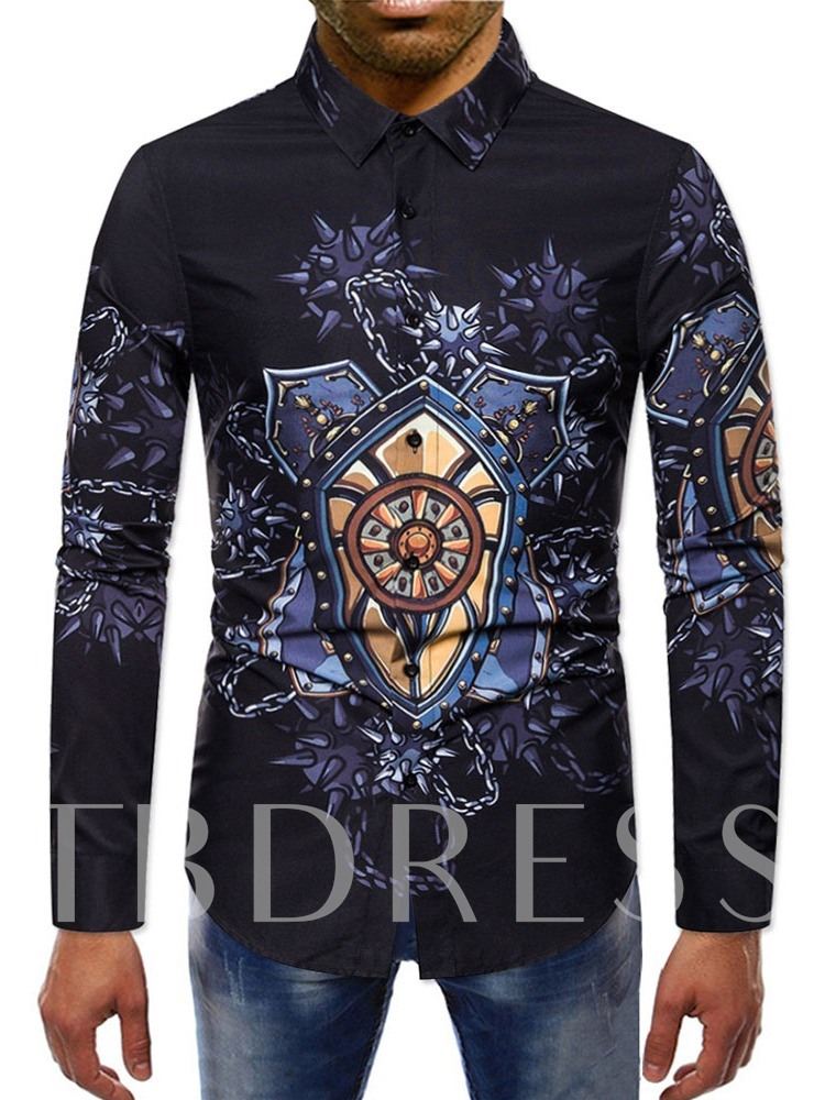 Print Color Block England Lapel Single-Breasted Men's Shirt
