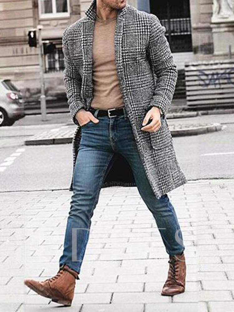 Button Lapel Mid-Length Plaid Single-Breasted Men's Coat