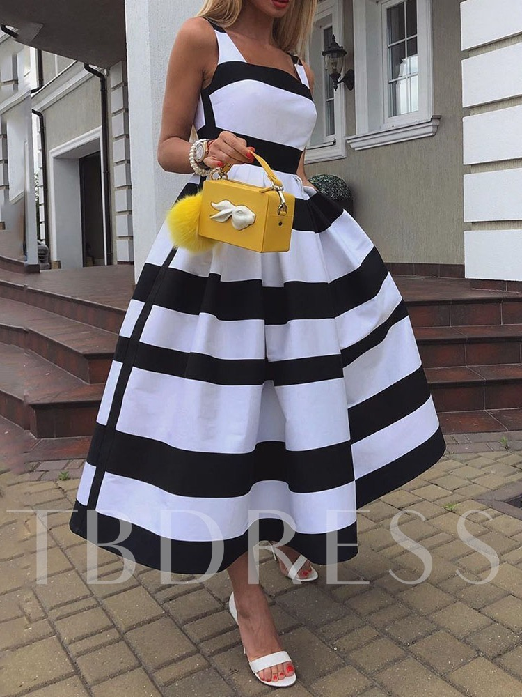 Mid-Calf Sleeveless Sweet Women's Day Dress