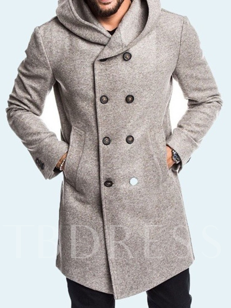 Mid-Length Hooded Plain Button A Line Men's Coat