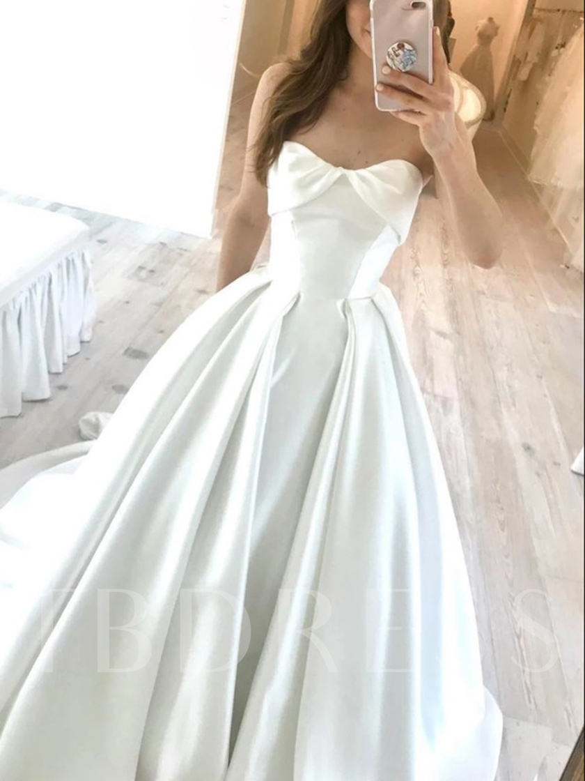 Strapless A-Line Court Train Wedding Dress 2019