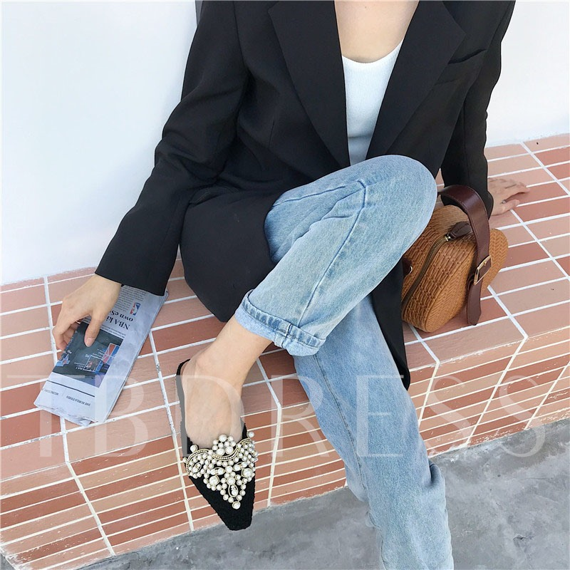 Beads Block Heel Closed Toe Slip-On Casual Mules Slippers