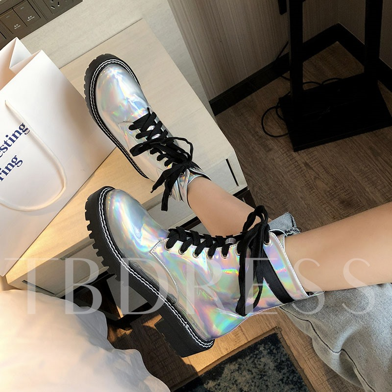 Metallic Round Toe Lace-Up Front Patchwork Ankle Boots