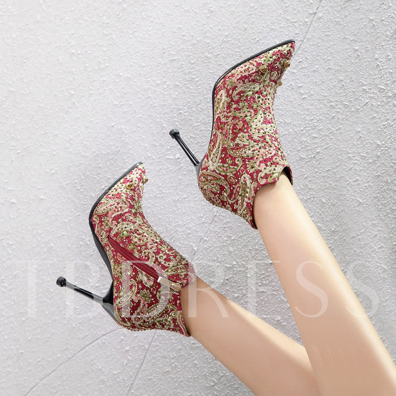 Pointed Toe Stiletto Heel Vintage Side Zipper Ankle Boots