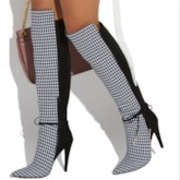 Stiletto Heel Pointed Toe Color Block Customized Knee High Boots