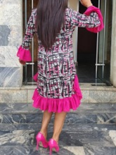 Print Round Neck Long Sleeve Knee-Length Flare Sleeve Women's Long Sleeve Dress