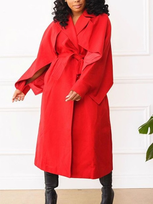 Notched Lapel Long Casual Women's Trench Coat