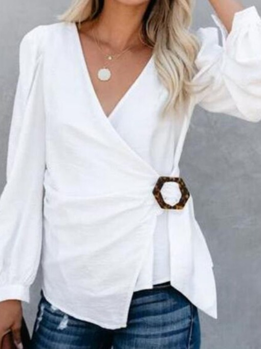 Plain Lace-Up V-Neck Long Sleeve Loose Women's Blouse