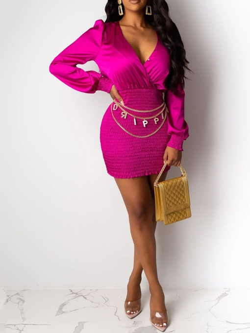 Long Sleeve Above Knee Pleated V-Neck Bodycon Women's Bodycon Dress