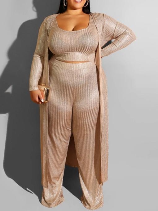 Plus Size Plain Straight Women's Two Piece Sets