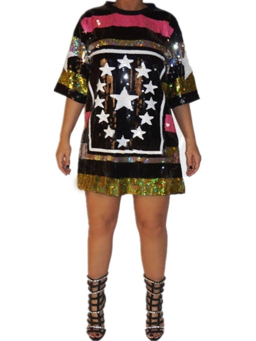 Print Round Neck Three-Quarter Sleeve Above Knee High Waist Women's Dress