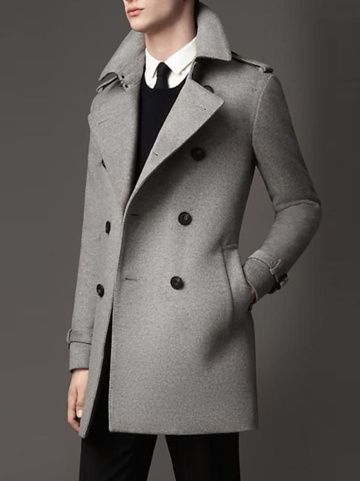 Button Plain Mid-Length Double-Breasted Men's Coat