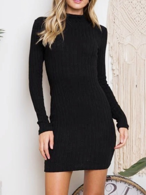 Above Knee Long Sleeve Stand Collar Backless Fall Women's Bodycon Dress