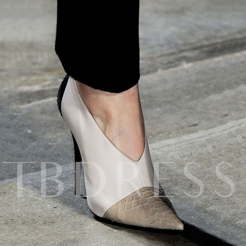 Customized Slip-On Stiletto Heel Pointed Toe Color Block Pumps