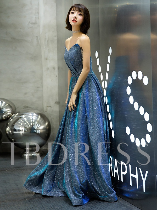 Strapless A-Line Sequins Prom Dress 2019